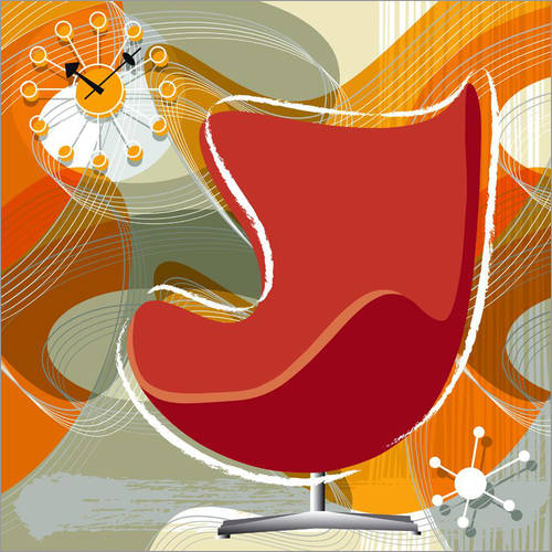 Sticker mural egg chair