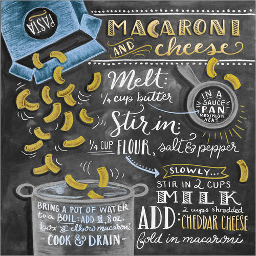 Sticker mural Recette Macaroni and Cheese (anglais)