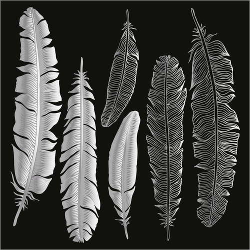 Sticker mural Feathers in silver