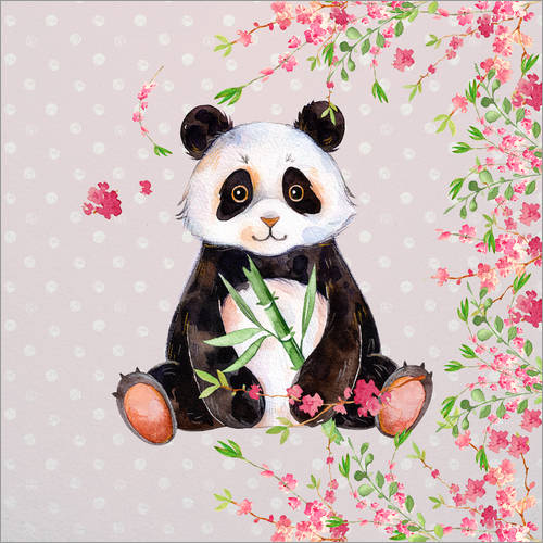 Sticker mural Little panda bear with bamboo and cherry blossoms