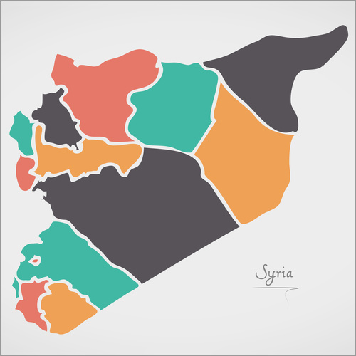 Sticker mural Syria map modern abstract with round shapes