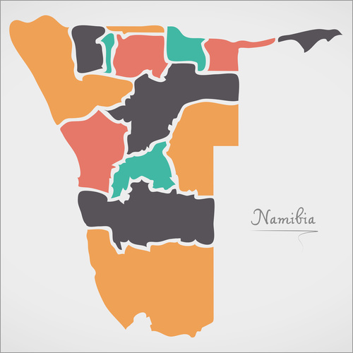 Sticker mural Namibia map modern abstract with round shapes