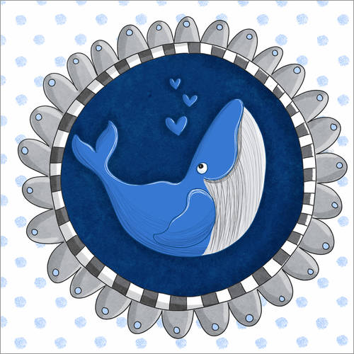Sticker mural Billy la baleine bleue