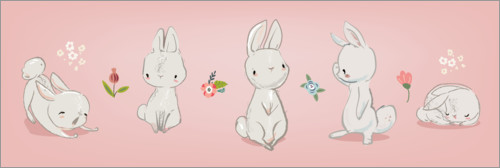 Poster Lapins sur fond rose II