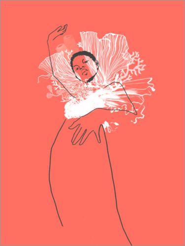 Poster Illustration de mode corail