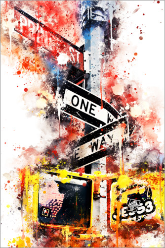 Poster Collection aquarelle, One Way Street