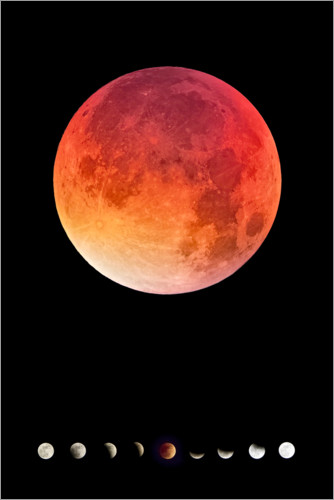 Poster Lune rouge