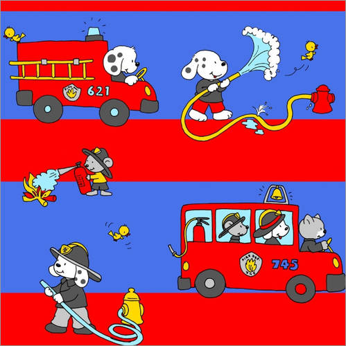 Sticker mural animal fire brigade