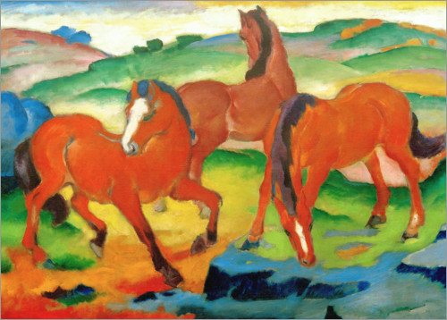 Poster Chevaux rouges