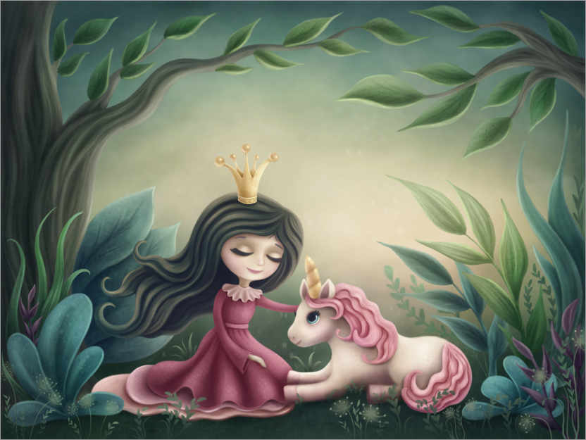Poster Princess with unicorn in the magic forest