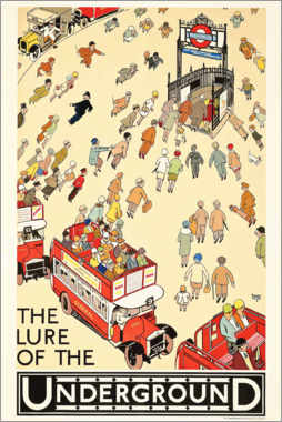 Tableau en aluminium  The Lure of the Underground - Alfred Leete