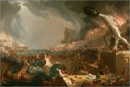Tableau en plexi-alu  Chute de Rome (Destruction) - Thomas Cole