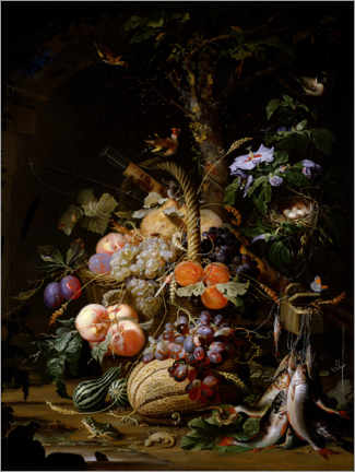 Tableau en aluminium  Still life of fruit - Abraham Mignon