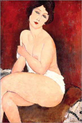 Sticker mural  Nu assis sur un divan (La Belle Romaine) - Amedeo Modigliani