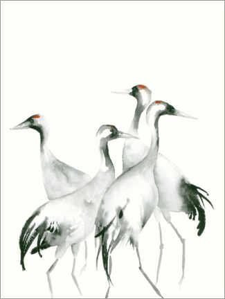 Tableau en aluminium  Quatre grues - Dearpumpernickel