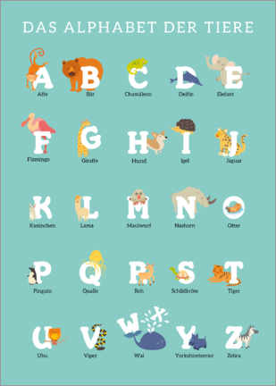 Tableau en aluminium  Alphabet animalier (allemand) - Kidz Collection