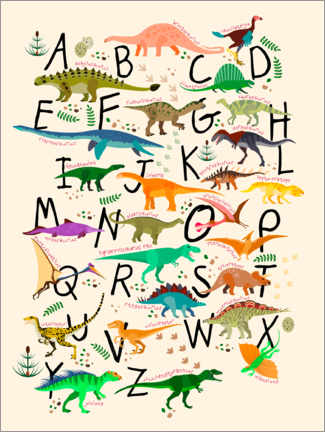 Tableau en verre acrylique  Alphabet dino - Kidz Collection