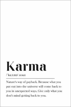 Poster  Définition de Karma (anglais) - Pulse of Art