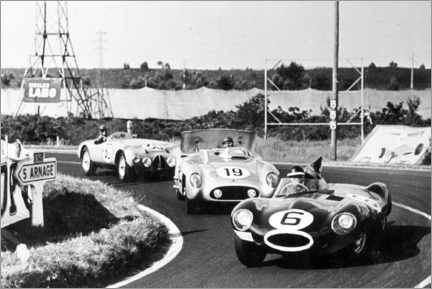 Poster Fangio, Moss and Hawthorn at the Le Mans 24-hour race 1955