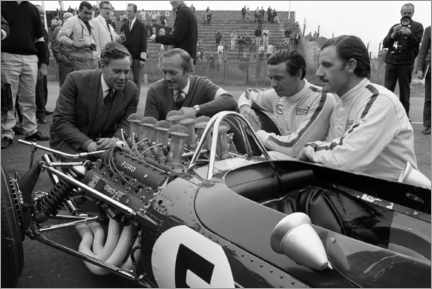 Tableau en verre acrylique  Keith Duckworth, Colin Chapman, Jim Clark et Graham Hill, Lotus 49 Ford 1967