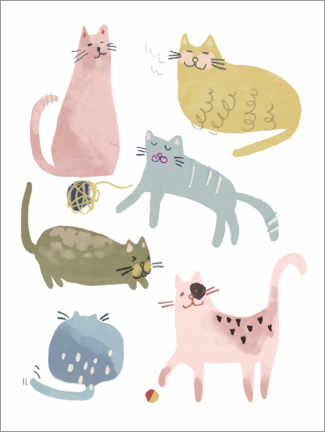 Poster Six beaux chats