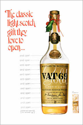 Tableau en bois  Vat 69 (anglais) - Advertising Collection
