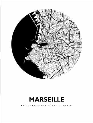 Poster  Plan rond de la ville de Marseille - 44spaces