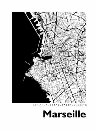 Poster  Plan de la ville de Marseille - 44spaces