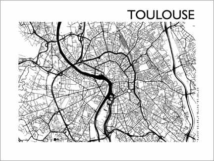 Tableau en aluminium  Plan de la ville de Toulouse - 44spaces