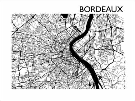 Poster  Plan de la ville de Bordeaux - 44spaces