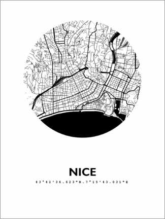 Poster  Plan rond de la ville de Nice - 44spaces