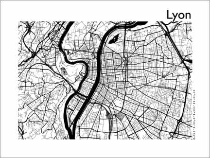 Poster  Plan de la ville de Lyon - 44spaces