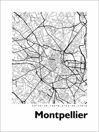 Poster  Plan de Montpellier - 44spaces