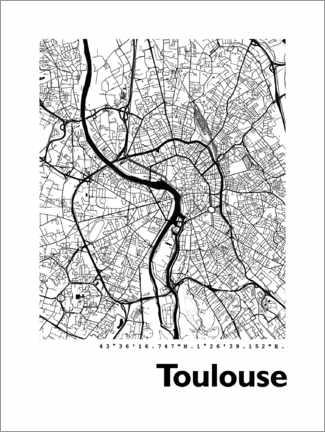 Tableau en aluminium  Plan de Toulouse - 44spaces