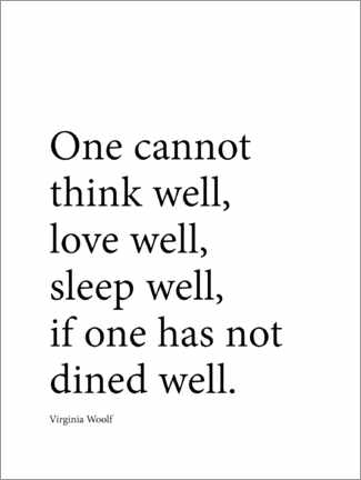 Poster  Dine well, citation de Virginia Woolf (anglais) - Finlay and Noa
