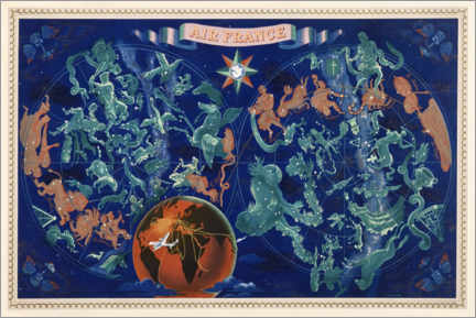 Poster  Air France, carte des constellations - Travel Collection