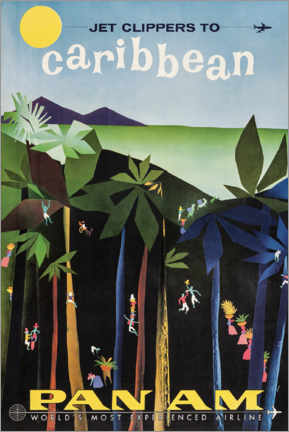 Poster  Les Caraïbes via Pan Am - Travel Collection