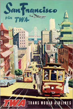 Tableau en aluminium  San Francisco via TWA - Travel Collection