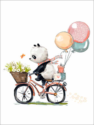 Poster  Panda à vélo - Kidz Collection