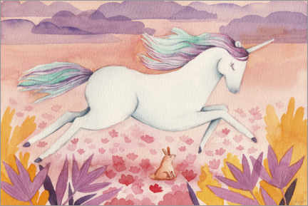 Poster  Licorne au galop - Michelle Beech