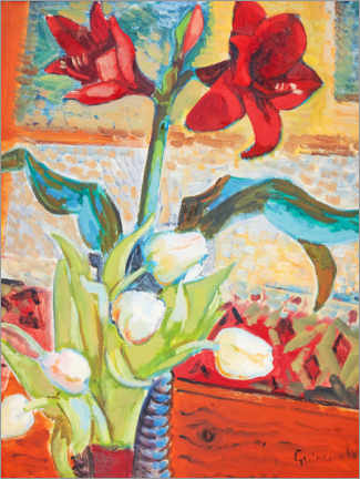 Poster Amaryllis rouges et tulipes blanches