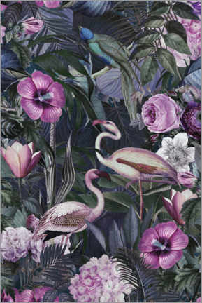 Poster  Flamants roses dans la jungle sombre - Andrea Haase