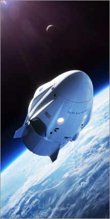 Poster  SpaceX crew dragon en orbite - Spacex