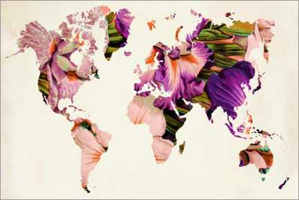 Tableau en PVC  Carte du monde florale - Mandy Reinmuth