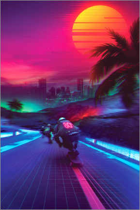 Tableau en PVC  Synthwave Midnight Outrun - Denny Busyet
