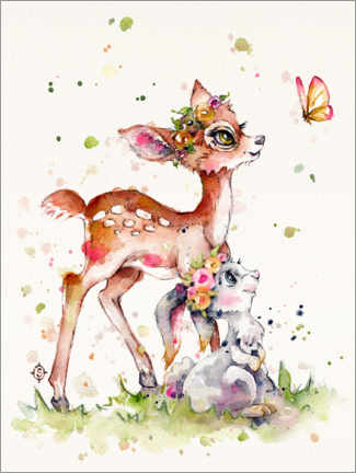 Poster  Faon et lapin - Sillier Than Sally