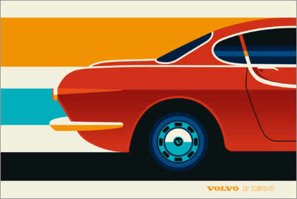 Poster Volvo P1800 rouge