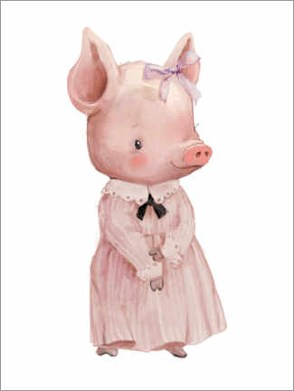 Poster  Cochon en robe rose - Kidz Collection