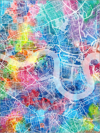 Tableau en aluminium  Plan multicolore de Londres - Bekim Mehovic