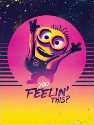 Tableau en verre acrylique  Minions Space - You feelin' this?